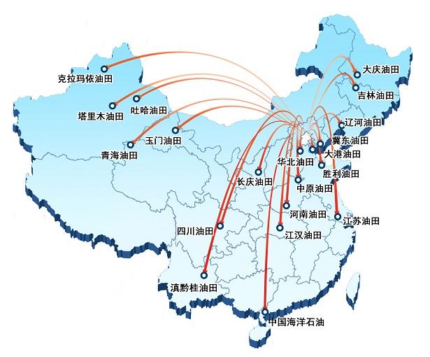 在大庆,松原,盘锦,濮阳,潜江,西安,成都,克拉玛依,库尔勒等地区设有